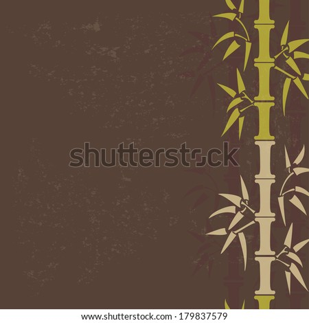 Hand drawn vintage green bamboo background.  Bamboo vertical seamless border. All objects are conveniently grouped on different layers and are easily editable - stock vector