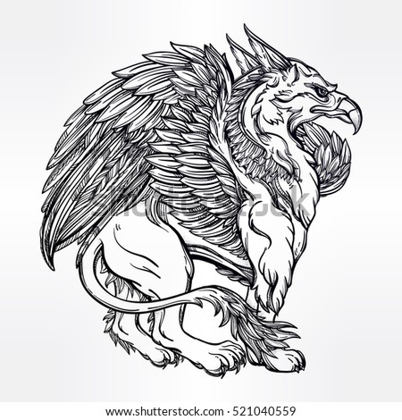 hand drawn vintage griffin mythological magic winged beast with crown victorian motif tattoo