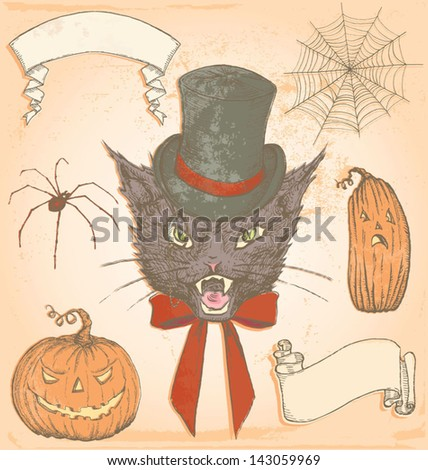 Hand Drawn Vintage Halloween Creepy Cat Vector Set. Color fills are grouped separately from outlines for easy editing. - stock vector