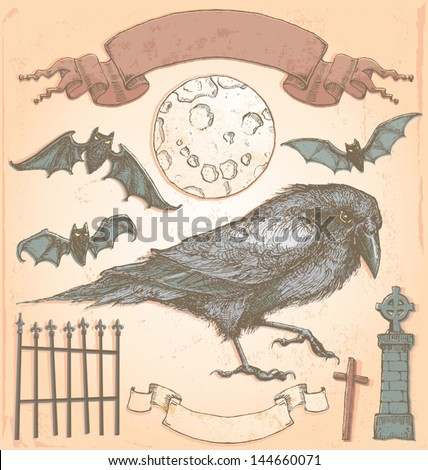 Hand Drawn Vintage Halloween Spooky Crow Vector Set Color fills are grouped separately from outlines for easy editing. No transparency used. - stock vector
