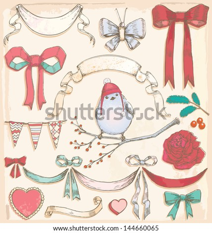 Hand Drawn Vintage Holiday Bird, Bows and Ribbons Vector Set Vintage and weathered elements. Color fills grouped separately from outlines, and hat grouped separate from bird. No transparency used. - stock vector