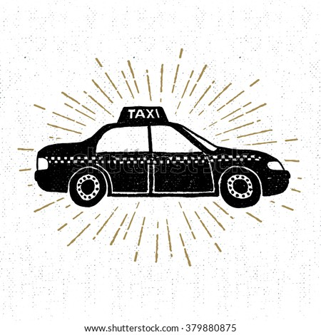 Hand drawn vintage icon with taxi vector illustration. - stock vector