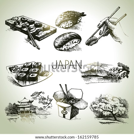 Hand drawn vintage Japanese set - stock vector
