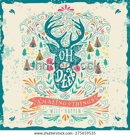 Hand drawn vintage label with a reindeer and hand lettering. This illustration can be used as a greeting card or as a print on T-shirts and bags. - stock vector