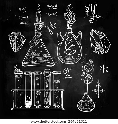 Hand drawn vintage laboratory icons sketch. Chalk on a blackboard. Vector illustration.Back to School. Science lab objects doodle style sketch,Magical elements. Alchemy and vintage medieval science.  - stock vector