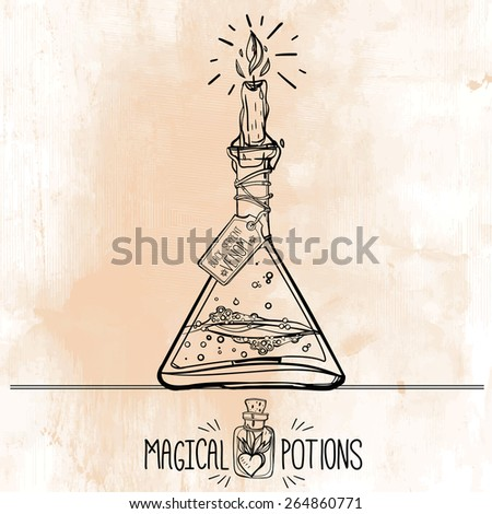 Hand drawn vintage laboratory icons sketch on grunge background. Vector illustration.Back to School. Science lab objects doodle style sketch, Magical  potions. Alchemy and vintage medieval science.  - stock vector