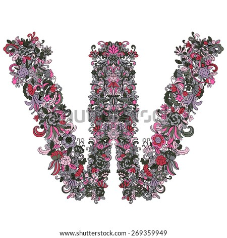 Hand drawn vintage letter W with floral pattern,  flowers, leafs, plants, herbs isolated in pink colors on white background. Art logo design. Luxury style - stock vector