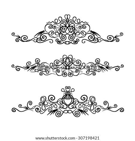 hand-drawn vintage monogram vector set - stock vector