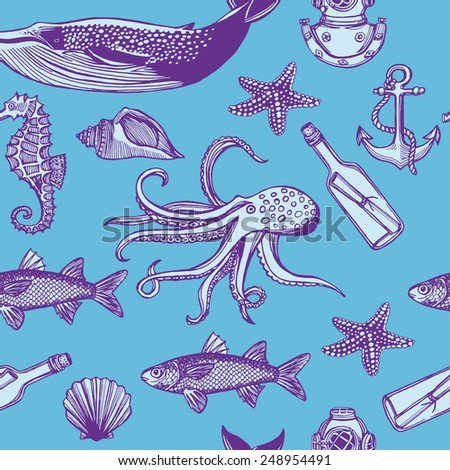 Hand drawn vintage nautical seamless pattern. message in a bottle, fish, shell, sea star, whale, anchor, sea horse, octopus, diving helmet