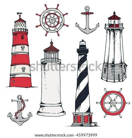 Hand drawn vintage nautical set. Lighthouse, steering ship wheel, anchor, isolated on white background - stock vector