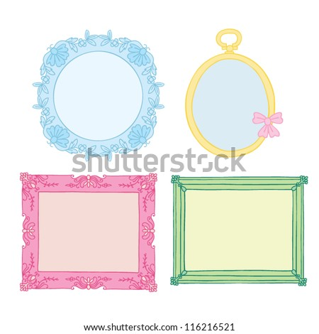 Hand Drawn Vintage Picture Frames - stock vector