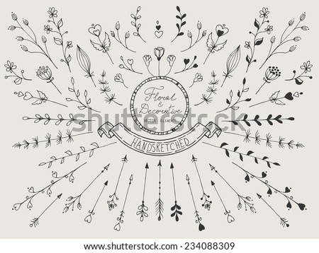 Hand drawn vintage set of floral and decorative elements - stock vector