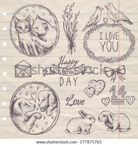 hand drawn vintage set Valentine's Day - stock vector