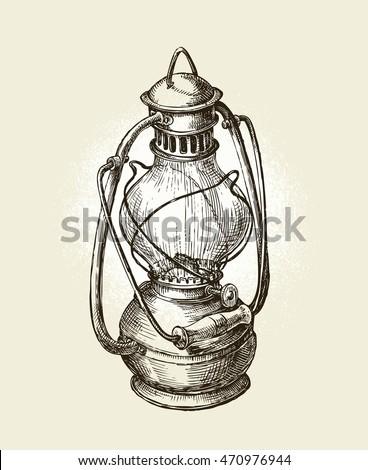 Hand Drawn Vintage Sketch Oil Lamp Vector Illustration