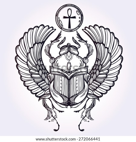 Hand-drawn vintage tattoo art. Vector illustration, symbol of pharaoh, Resurrection element of ancient Egypt, linear style. Scarab beetle, god sun Ra, wings and ankh. Isolated. Silver background .