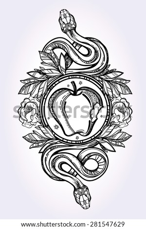 Hand-drawn vintage tattoo art. Vintage symbol, detailed hand drawn forbidden apple and tempter serpent, element of a Biblical story of Eve, sin temptation linear style. Engraved isolated vector art.  - stock vector
