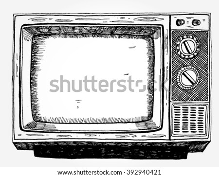 Hand Drawn Vintage TV