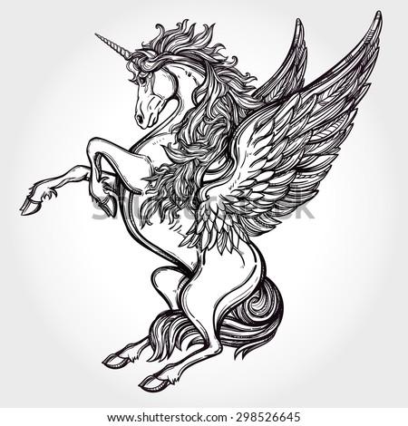 Hand drawn vintage Unicorn mythological magic winged horse. Victorian ...