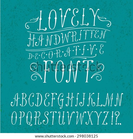 Hand drawn vintage vector ABC letters. Lovely doodle decorative font for your design.