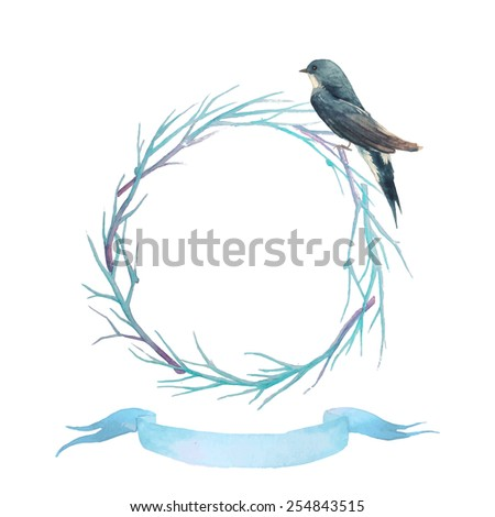 Hand drawn vintage wreath with swallow and blue vintage ribbon. Watercolor tree branches wreath. Spring vintage frame - stock vector