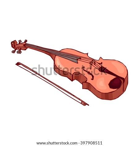 Hand drawn violin with bow isolated on white background. Classical musical instrument. Brown fiddle. String instrument. - stock vector