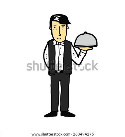 hand drawn waiter - stock vector