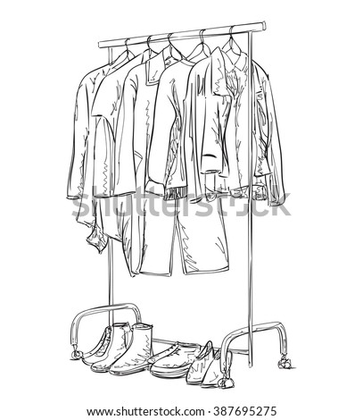 Hand drawn wardrobe sketch. Clothes and shoes. - stock vector