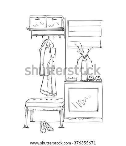 Hand drawn wardrobe sketch with clothes. Hall interior. - stock vector