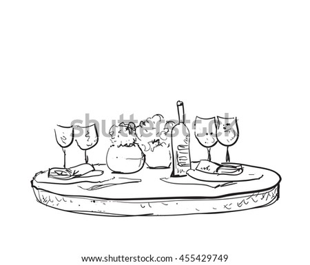 Hand Drawn wares. Romantic dinner for two. - stock vector
