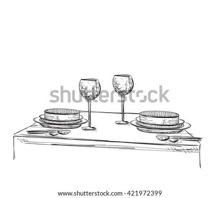 Hand Drawn wares sketch. Romantic dinner for two. - stock vector