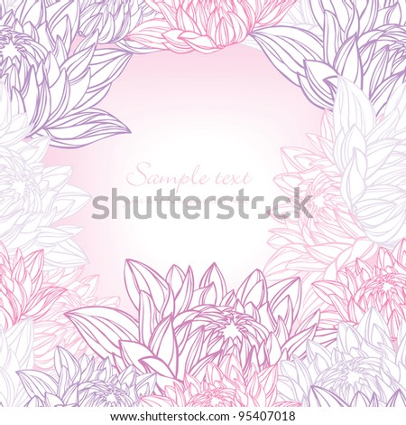Hand drawn water lily frame floral - stock vector