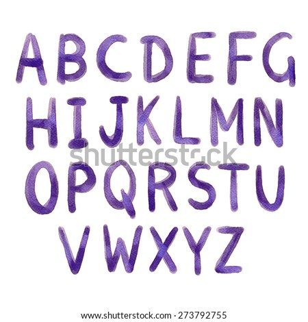 Hand drawn watercolor alphabet, blue ink sketch font, letters. Handwritten, brush strokes isolated on white background - stock vector