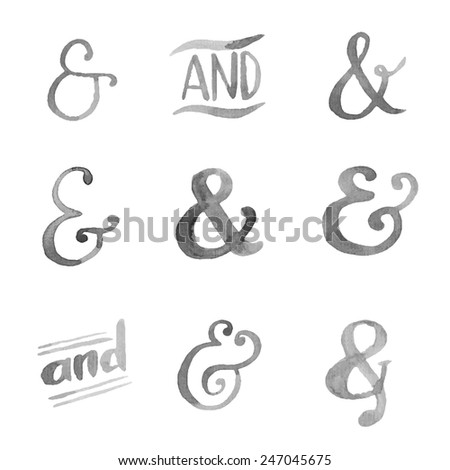 Hand drawn watercolor ampersands set for your design - stock vector
