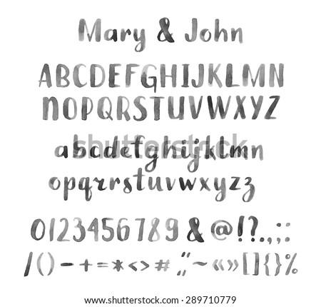 Hand drawn watercolor artistic font - stock vector