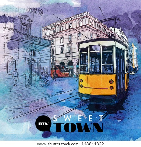 Hand drawn watercolor background with illustration of old tram in sketch style. Vector illustration. - stock vector