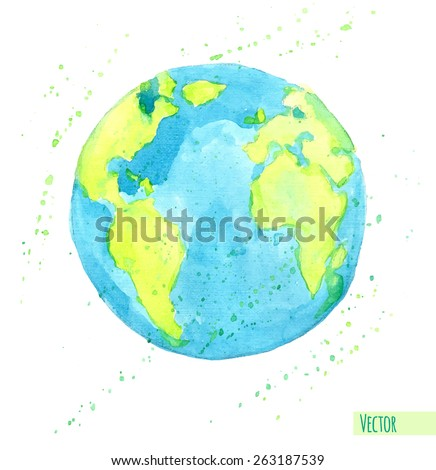 Hand drawn watercolor Earth, isolated vector illustration. - stock vector