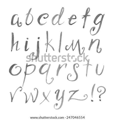 Hand Drawn Watercolor Elegant Funny Font Letters Cursive Alphabet