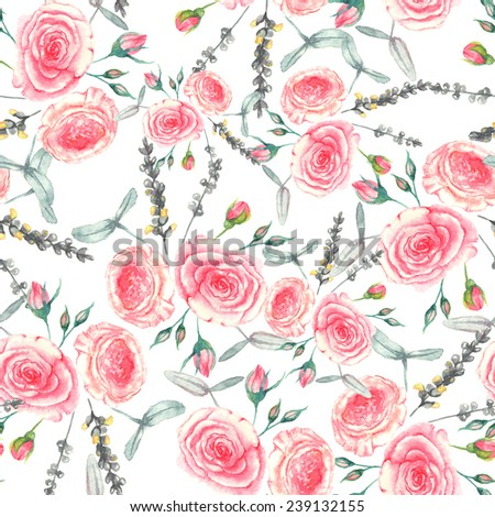 Hand drawn watercolor floral seamless pattern with tender pink roses in vector on the white background - stock vector