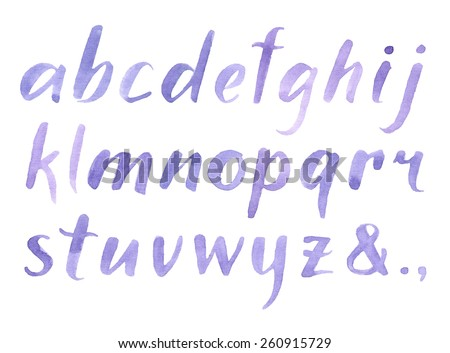 Hand drawn watercolor font for your design. Watercolor letters. - stock vector