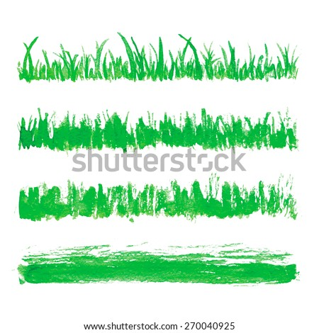 Hand drawn watercolor grass set isolated on white background. Sketch green-fodder. Watercolor green grass pattern. Abstract herb. Summer juicy thick grass collection. Spring fresh grass kit. - stock vector