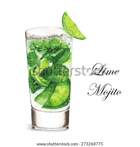 Hand drawn watercolor illustration of summer fresh cocktail Mojito. Isolated on the white background, in vector - stock vector