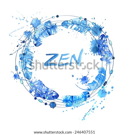 Hand drawn watercolor illustration with bird feathers and beads. Zen concept - stock vector