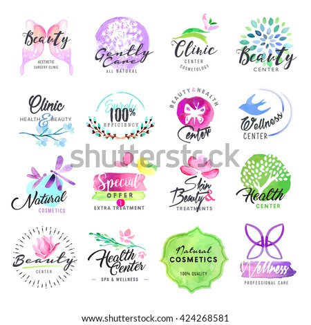 Hand drawn watercolor labels for beauty and cosmetics. Vector illustrations for graphic and web design, for cosmetic products, natural products, skin care, makeup, beauty center, spa and wellness. - stock vector