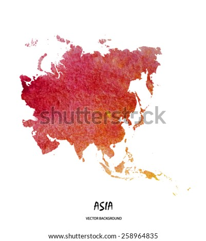 hand drawn watercolor map of Asia isolated on white. Vector version - stock vector