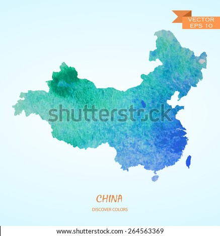 hand drawn watercolor map of China isolated. Vector version - stock vector