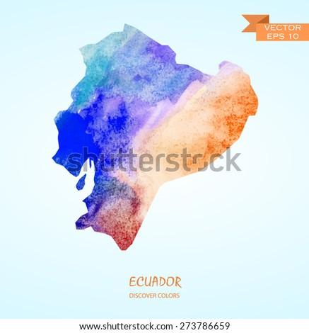hand drawn watercolor map of Ecuador isolated. Vector version - stock vector