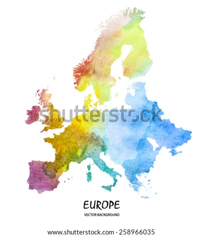 hand drawn watercolor map of Europe isolated on white. Vector version - stock vector
