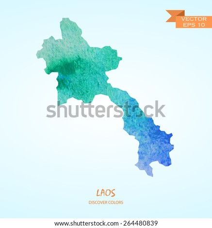 hand drawn watercolor map of Laos isolated. Vector version - stock vector