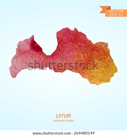 hand drawn watercolor map of Latvia isolated. Vector version - stock vector