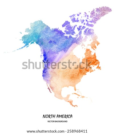 hand drawn watercolor map of North America isolated on white. Vector version - stock vector